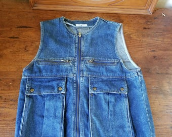 Multiple Pocket Vintage 80s Funky Denim Vest MEDIUM