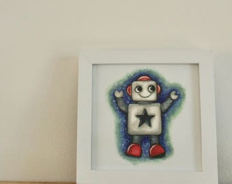 Cute space robot card//children's birthday//baby card//boys birthday//girls birthday card//illustration // art card //art print