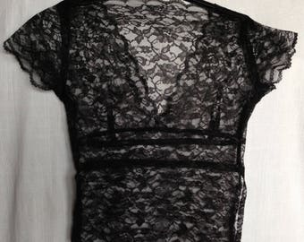 90's Vintage Black V Neck Lace Top