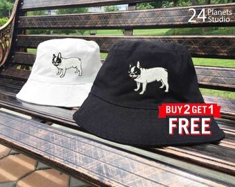 French Bulldog Embroidered Bucket Hat by 24PlanetsStudio