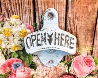 open here bottle opener, wall bottle opener, rustic bottle opener, beer bottle opener, beer opener, wall mount opener, wall mounted, WHITE
