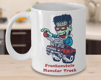 FRANKENSTEIN MONSTER TRUCK Cartoon Mug Funny Coffee Lover Mummy Step-Side Pick Up Cartoon Halloween Fan Gift 15 oz White Coffee Cup Mug!