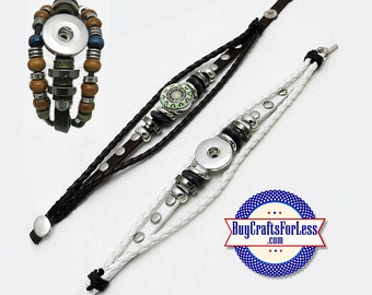 SNAP Button BRACELET, Leather and Beads, for 18mm Changable Snap Buttons +FREE Shipping & Discounts