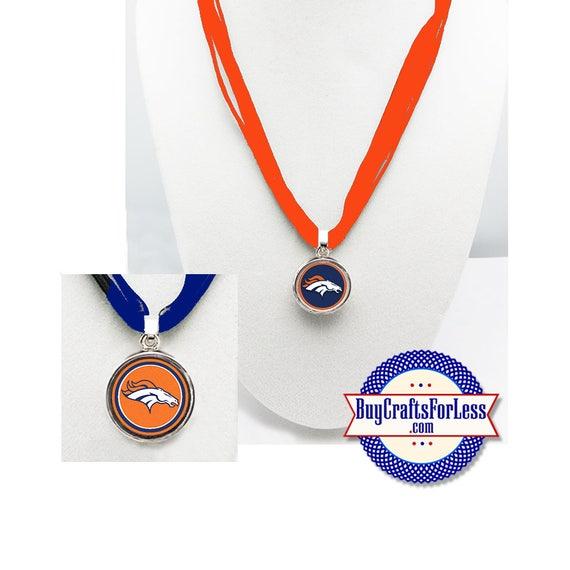 DENVER Football PENDaNT, CHooSE Logo and Ribbon Cord - Super CUTE!  +FREE SHiPPiNG & Discounts*