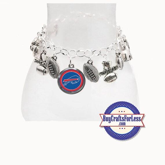 BUFFALO Football CHARM Bracelet, Silver Plated  **FREE U.S. SHiPPiNG**