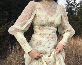 Romantic Gunne Sax Vintage 70's Lace Victorian Floral Dress Size 9 M 27