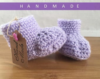Baby Booties/Baby Girl Booties/ Crochet Booties/Newborn Baby Booties/ Purple Booties
