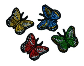 4 PCS Colorful Butterfly Patches Butterfly Iron On Patch  Butterfly Iron on Applique Animal Patch Kids Clothes Patches Clothing Patches