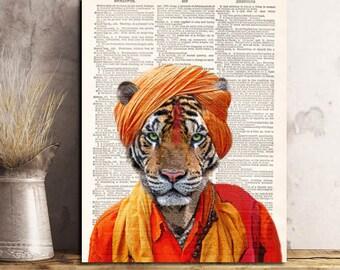 Tiger Sadhu Art Print, indian art wall art, vintage dictionary page book art print.
