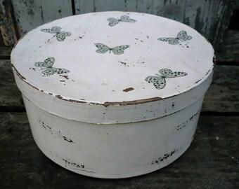 Circular gift box with decoupaged butterflies-storage box-keepsake box-memory box