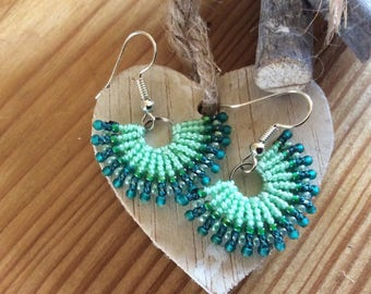 Lovely fan shaped micro macrame earrings - boho jewellery  - fiesta - party - green earings - party jewellery - beads -macrame -gift
