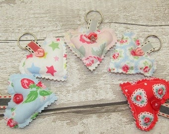 Cath Kidston Heart Key Rings, Bag Tag,  Birthday, Mother's Day, Favors, Stocking Filler