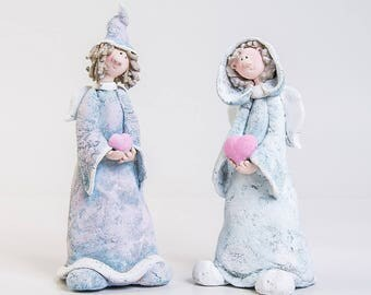 Ceramic sculpture Fairy doll Ceramic angel figurine Guardian angel gift Angel with heart Clay angel in hat Boy doll sculpture Romantic boy