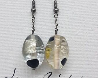 Earrings - unique - transparent / black