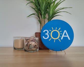 30A Wood Circle Plaque