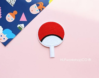 UCHIWA -- Handmade Embroidered Patch Brooches Pins/Fabric Badge/Iron-On Patches/Japan/Japanese/Hand Fan