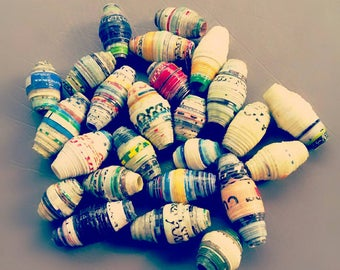 25 Handmade Paper Beads