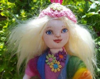 OOAK Rainbow Fairy Art Doll. Custom made to look like your child, Personalised mini-me doll, Collectors Art Doll