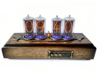 Nixie Clock with 4-Digit Z5660M Large Tubes, Nixie Tube Clock in Wooden Case, Rare Nixie Tubes
