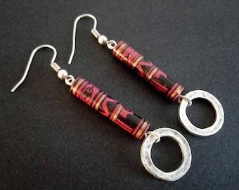 Ethnic Earrings | Peruvian Ceramic Earrings | Silver Plated Earrings | Tribal Earrings |  Boho  Earrings | Aztec Earrings | Gipsy Earrings