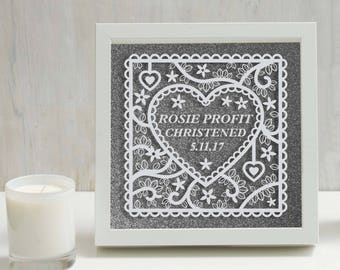 Personalised Christening Frame - Hand painted white acrylic on glass frame in front of glitter background,baby gift,new baby,christening