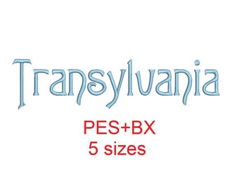 Transylvania embroidery font formats bx (which converts to 17 machine formats), + pes, Sizes 0.50 (1/2), 0.75 (3/4), 1, 1.5 and 2""