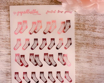 Dainty bow socks | Foiled mini stickers
