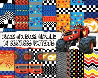 14 Blaze monster machine digital papers, seamles patterns, birthday party invitation, decoration, scrapbooking
