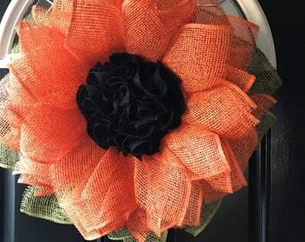 Front door wreath, Burlap flower wreath, fall flower wreath, whimsicle wreath, ready to ship, handmade wreath, home decor, decorative wreath