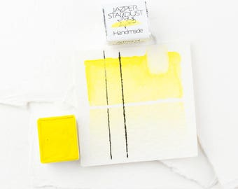 LEMON YELLOW Artisanal non-toxic Handmade Watercolor Half or Full pan