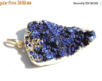 On Sale 1 Pc Very Attractive 24 Kt Gold Electroplated Edges Natural Blue Titanium Coated Druzy Pendant Size 44X24 MM