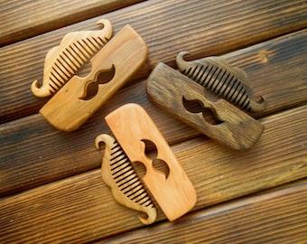 Wooden beard comb Wood comb Beard Mustache hair comb Shaving gift Beard care Pocket comb Barber shop decor Barber gift Beard grooming gift
