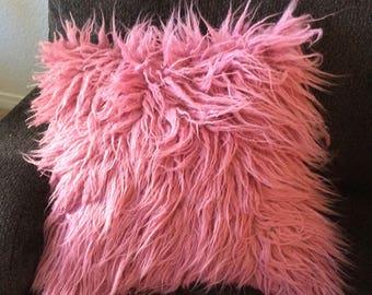 Pink Rose faux Fur Pillow - rose pillow cover - Mauve Throw Pillow Cover -  Toss Pillow-decor