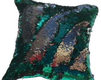 MERMAID Pillow Cover, Reversible Green sequin throw pillow, Green sequin Toss pillow, Sequin pillow,Furnishing, Teal,Gift, Decorative pillow