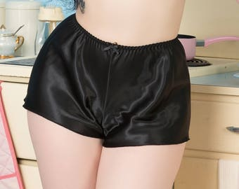 Bettie Thrifty Black French Knickers Rockabilly 1950's pin-up satin lingerie.