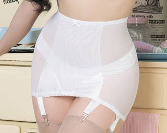 Bettie Thrifty WHITE Girdle retro vintage rockabilly 1950's Pin-up style