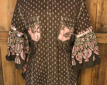 OOAK, Brown and Pink Feminine Western Shirt, Shabby Chic, Romantic Country, Junk Gypsy Style, Womens Spring Clothing
