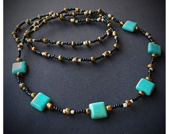 Squared turquiose colored stone, seed bead, 29in long necklace