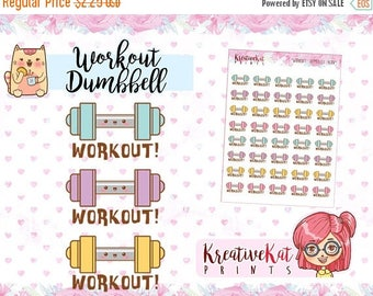 HalloweenSALE Workout Dumbbell Icon Stickers / Planner Stickers / Gym / Fitness / Diet / Healthy / Planner Goodies / Functional / Reposition