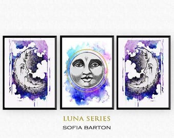 Luna (Nightshade) Series Gliceé Prints. Triple Moon.