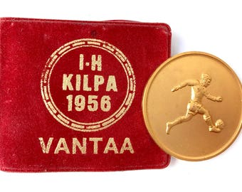 Vintage Metal medal in Gold color from Finland Boys soccer tournament