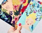 artist postcards - Set of 5 - ensemble de 5 cartes postales d'artiste