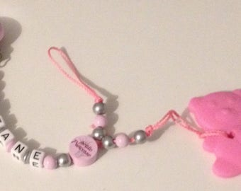 Personalized teething ring and pacifier clip