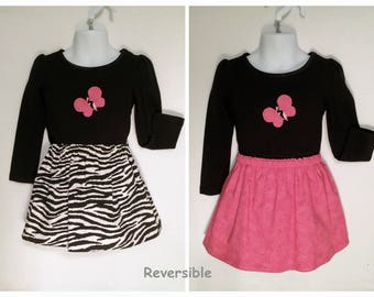 Toddler's Reversible Skirt Set, Zebra Print Skirt Set, Little Girl's Top & Skirt, Girl's Pink and Black Skirt Set, Skirt Set 3-4T