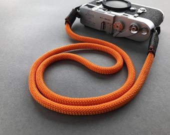 Orange camera strap made from climbing rope and genuine leather. For dslr slr mirrorless canon nikon fuji sony leica