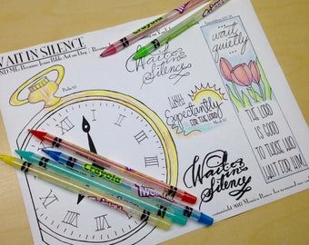 Wait in Silence Bible Journaling Margin Art & Tip-in, Printable and Traceable Templates, Hand Lettering, set of 4, 1 page