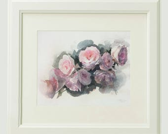 Pink roses, original watercolor painting