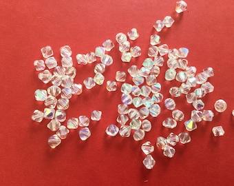 4 mm white iridescent Crystal bicones
