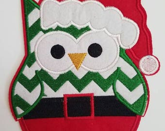 Owl large patch, Christmas embroidery patch, Red owl Christmas patch