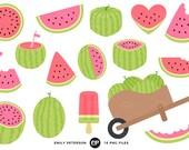 Watermelon Clip Art, Fruit Clipart, Summer Clip Art - Commercial Use, Instant Download